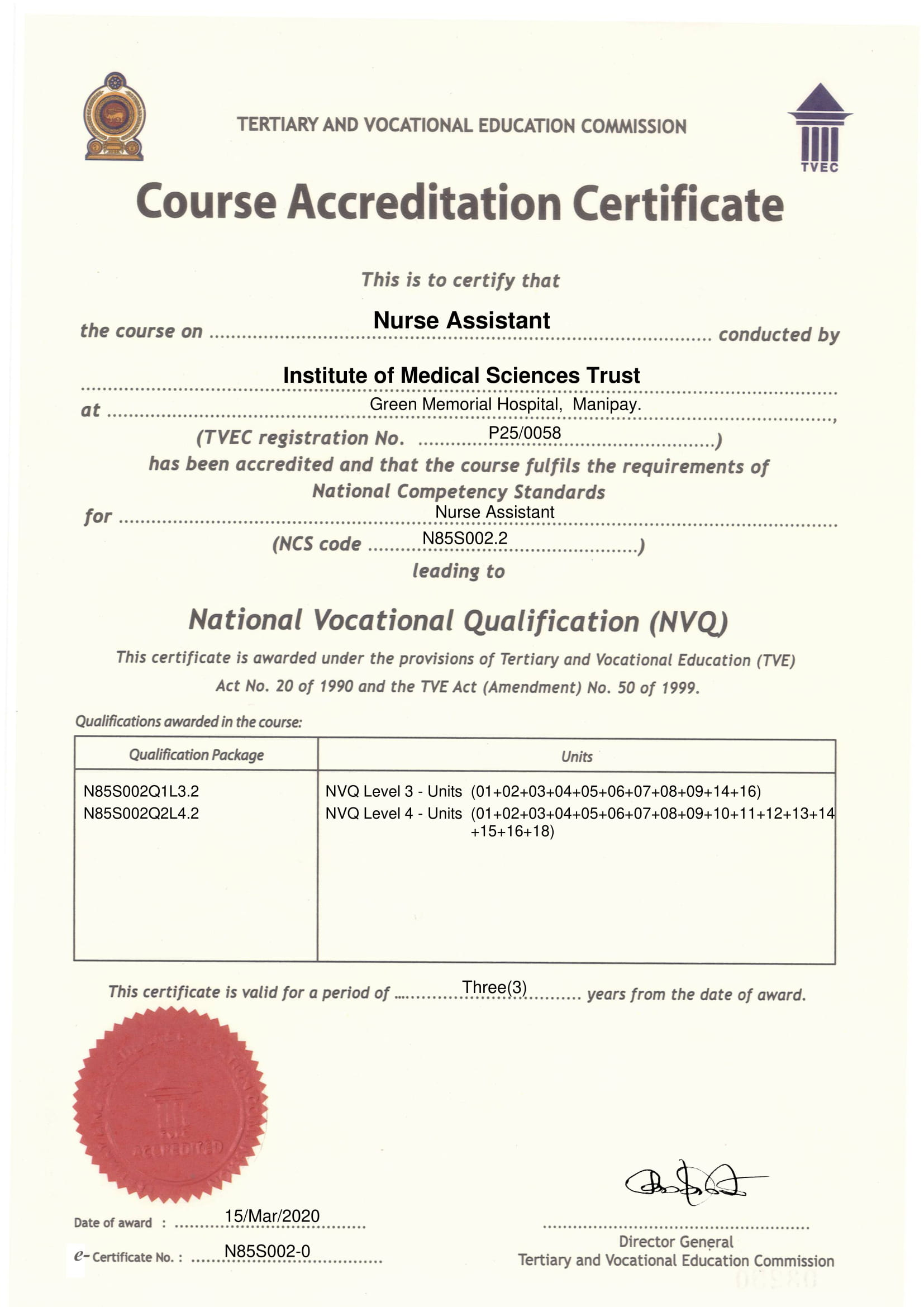 Course Accreditation Certificate